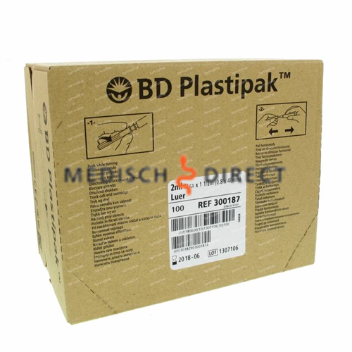 BD PLASTIPAK SPUIT+NAALD 2ml 21G x 5/8 (100st)