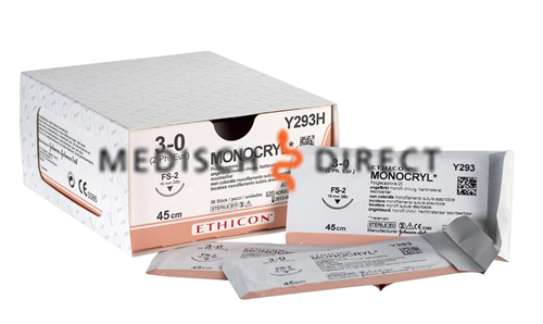 ETHICON MONOCRYL FS-2 NAALD 3/0 Y293H (36st)