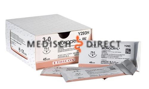 ETHICON MONOCRYL P-3 NAALD 5/0 Y493H (36st)