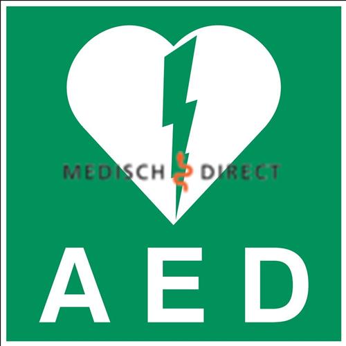AED STICKER GROOT GROEN