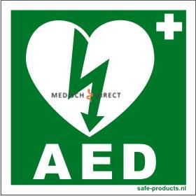 AED STICKER KLEIN GROEN