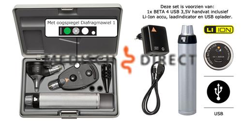 HEINE K-180 OTOSCOOP + OPHTHALMOSCOOP SET + USB LADER