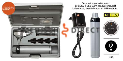 HEINE BETA 200 LED OTOSCOOP SET + USB LADER