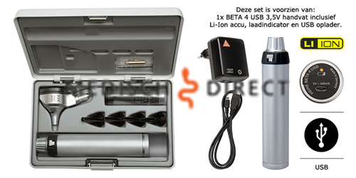 HEINE BETA 400 F.O. OTOSCOOP SET + USB OPLADER