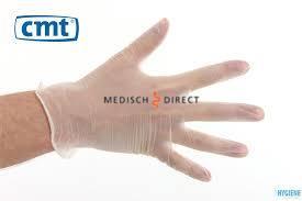 Vinyl CMT handschoenen gepoederd wit Small p/100