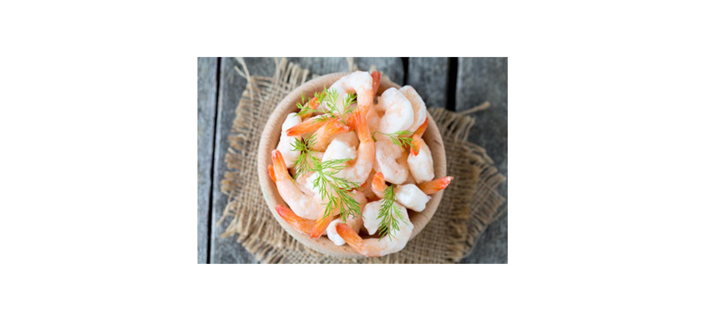 Crevette décortiquée, crue et surgelée