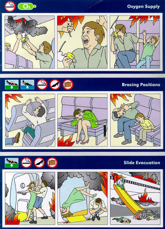 realistic airplane escape instructions