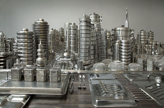 cityscape made out of cookware
