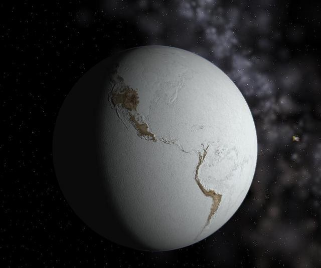 snow ball earth under km of ice