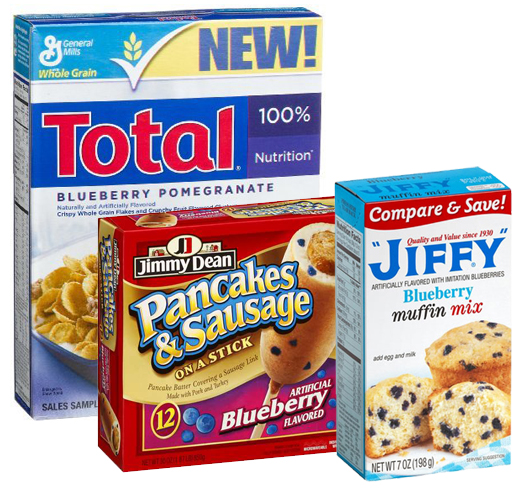 foods with artificial blueberries