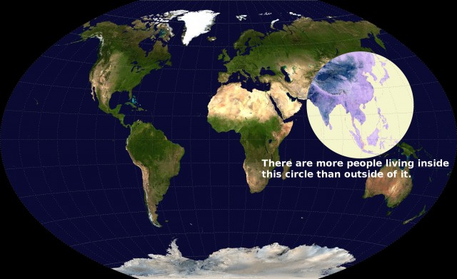 half of the world's population lives inside this circle