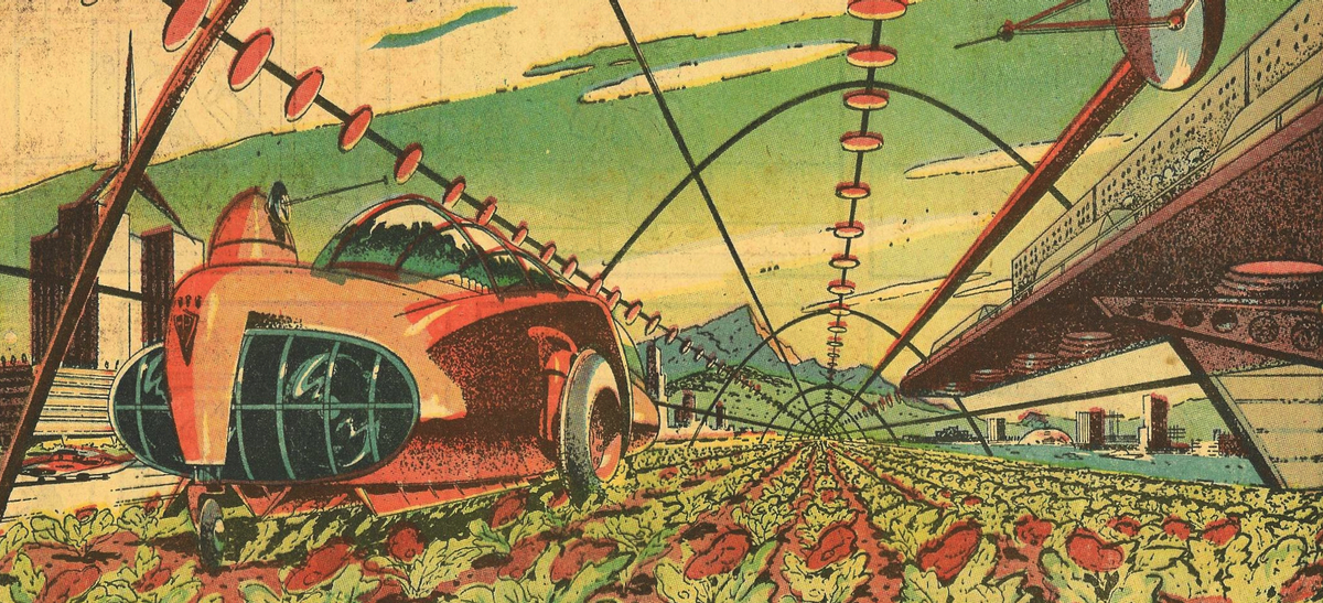 Arthur Radebaugh comic September 29, 1958, undated future with 'fat plants and meat beet' plants published as 'closer than we think' comic
