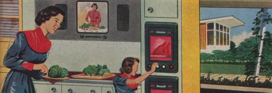 George Englert illustration January 1950, housewife of 2000, published Redbook magazine
