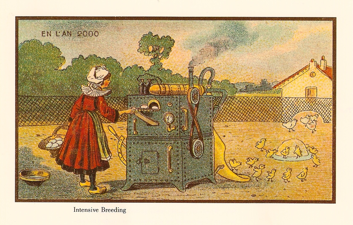 Jean-Marc Cote illustration 1899 uncirculated, breeding machine in 2000, published in Isaac Asimov's Futuredays 1986