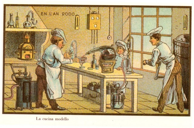Jean-Marc Cote illustration 1899 uncirculated, kitchen in 2000, published in Isaac Asimov's Futuredays 1986