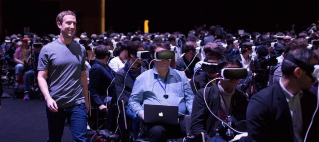 Mark Zuckerberg presenting VR technology at the Mobile World Congress, in Barcelona