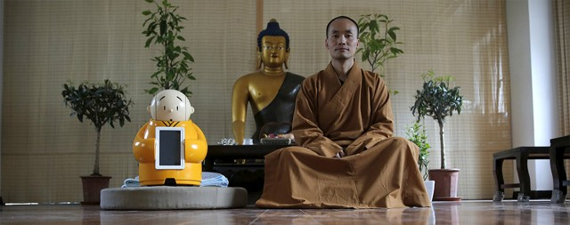 monk-robot in buddhist temple