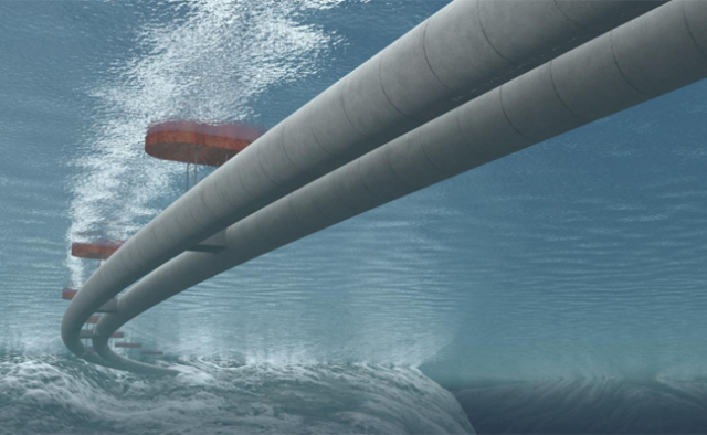 The Norwegian Public Roads Administration proposed an underwater tunnel hanging from floating pontoons from the southern city of Kristiansand to Trondheim in the north.