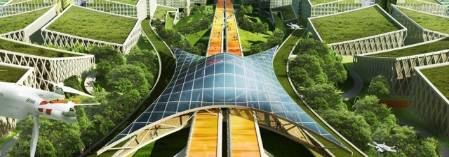 urban planners proposed a utopian superhighway for the up-and-coming organic smart city Bao'an.