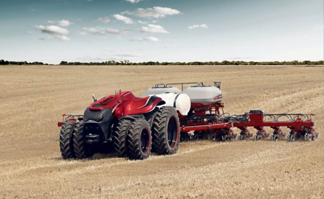 Case IH debuted their autonomous farm tractor that plants, monitors crops and harvests, all without a driver.
