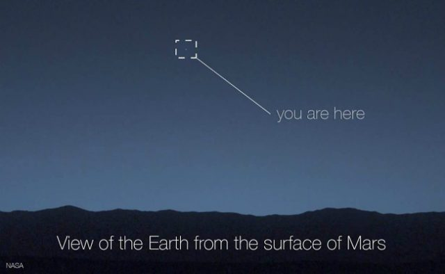 View of Earth from the surface of Mars