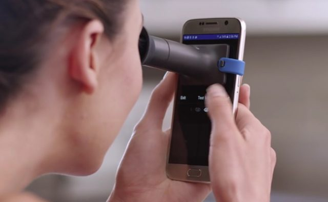 The EyeQue personal vision tracker is a smartphone app that allows you to test your eyes from the comfort of your couch.