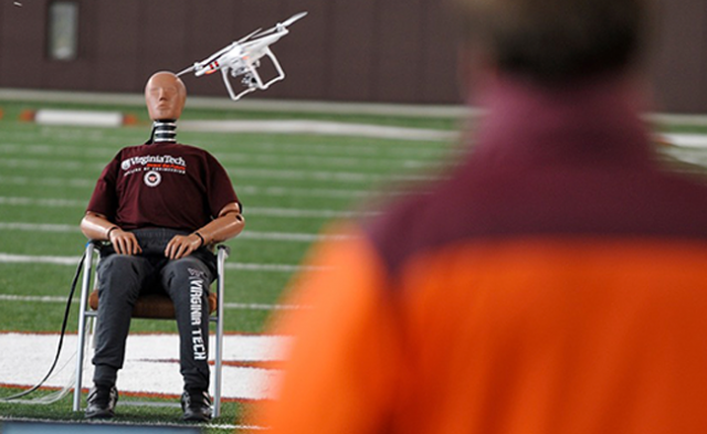 Researchers at Virginia Tech are studying the risk of injury from a drone collision by hitting a crash test dummy in the head.