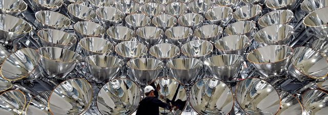 artificial sun constructed out of 149 spotlights