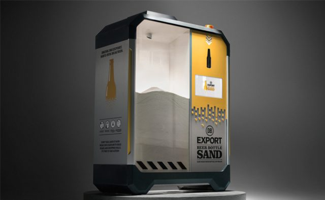 device that recycles glass bottles into sand