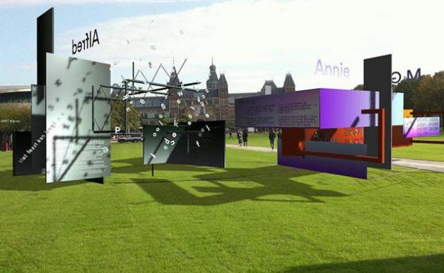 "A virtual museum for poetry opens ""its doors"" at the museum square in Amsterdam."
