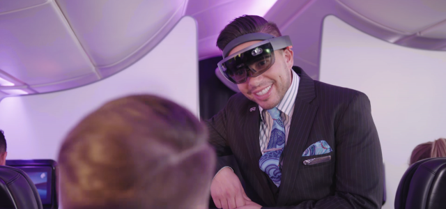 flight attendants with augmented reality headsets