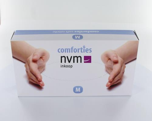 COMFORTIES SOFT NITRILE PREMIUM HANDSCHOENEN POEDERVRIJ MEDIUM PAARS/BLAUW (100st)
