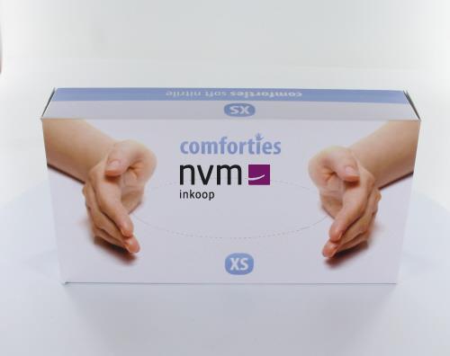 COMFORTIES SOFT NITRILE PREMIUM HANDSCHOENEN POEDERVRIJ EXTRA-SMALL PAARS/BLAUW (100st)