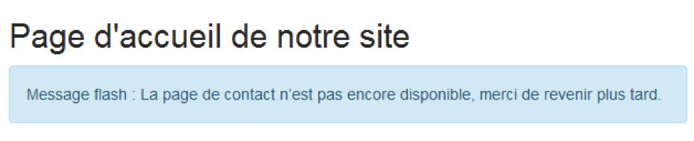 Exemple de message flash sur la page d'accueil