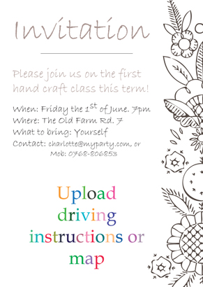 Back Invitation - Craft class