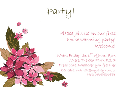 Back Invitation - House warming
