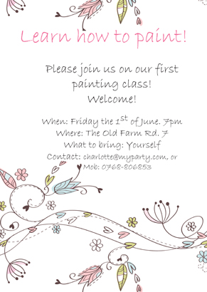 Back Invitation - Painting class
