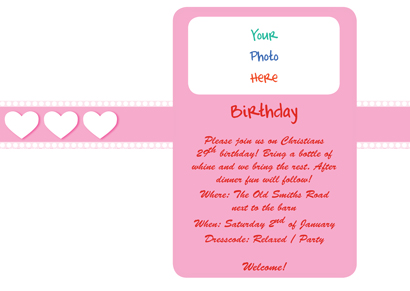 Back Invitation Card - Pink Stripes