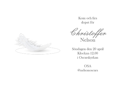 Back Christening card with feather