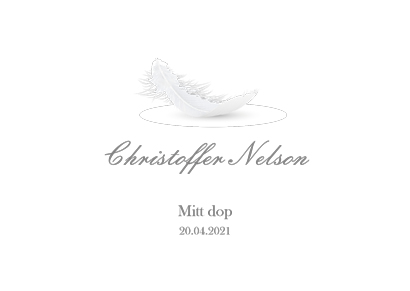 Christening card with feather