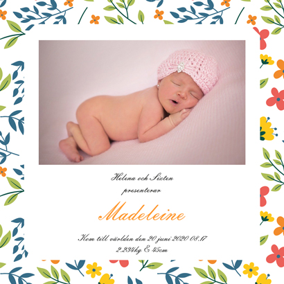Christening card with flowers