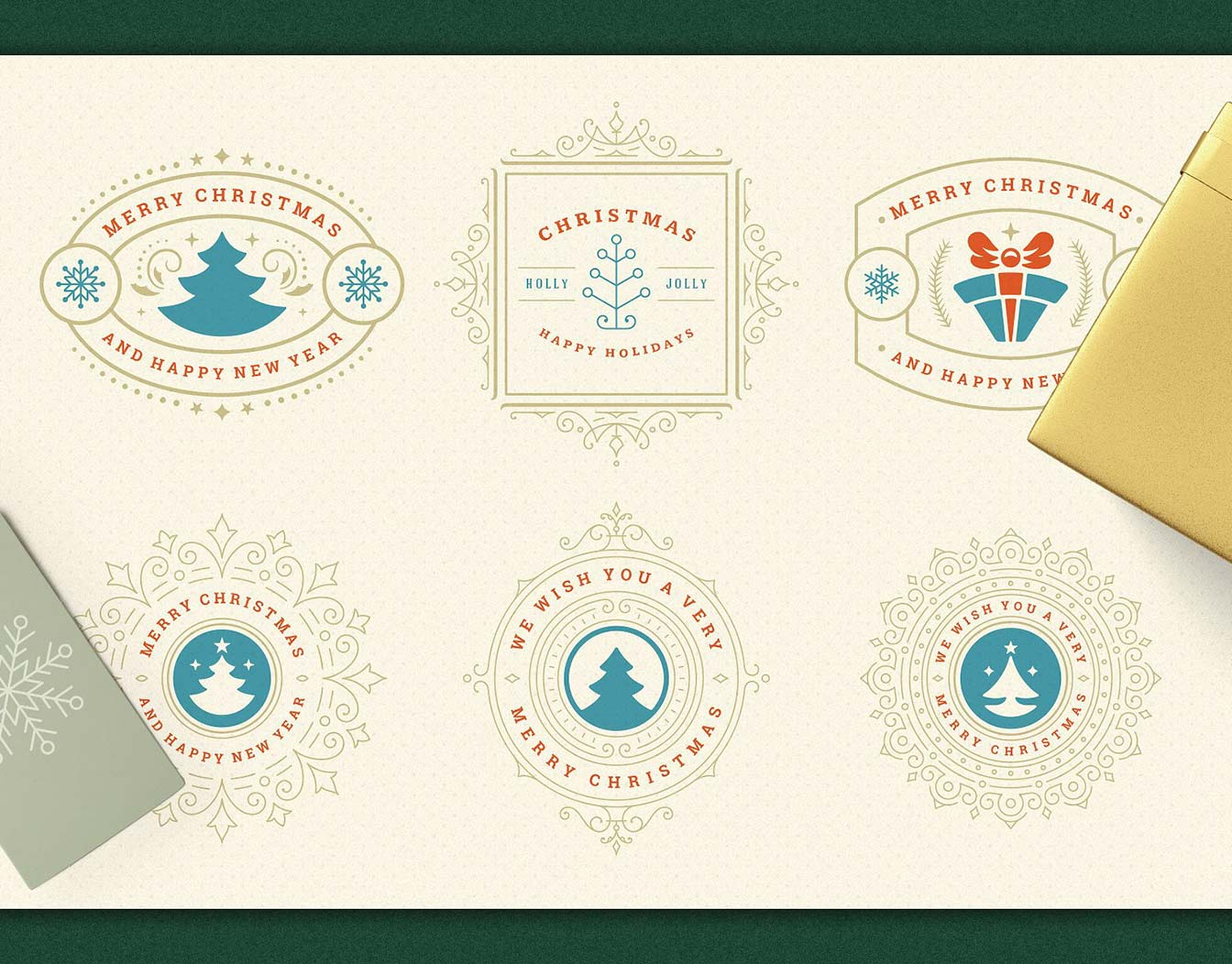 Vintage Christmas stamps on paper