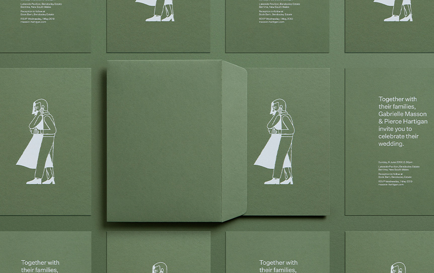Green invitations cards on thick paper