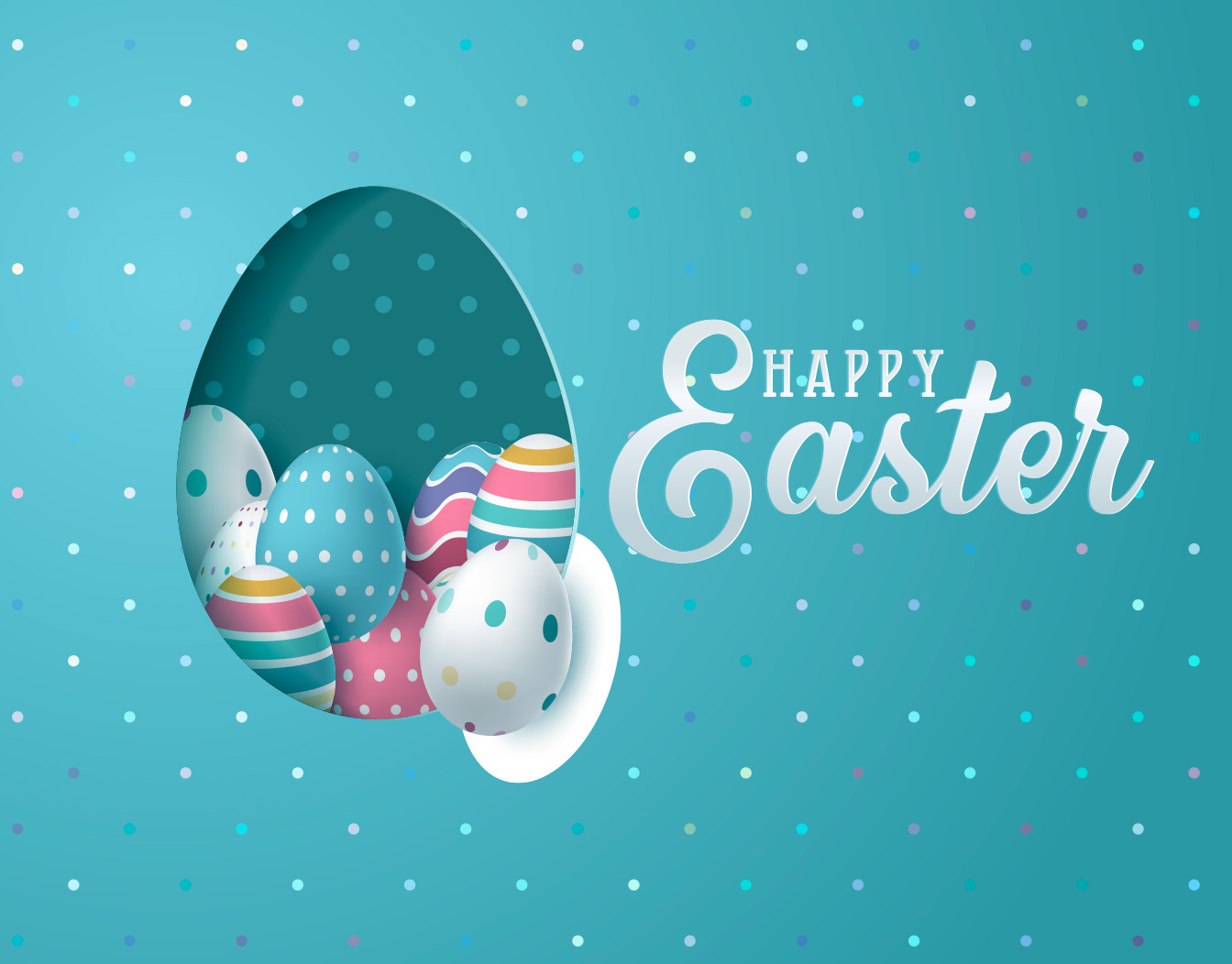 Happy Easter eggs on blue background