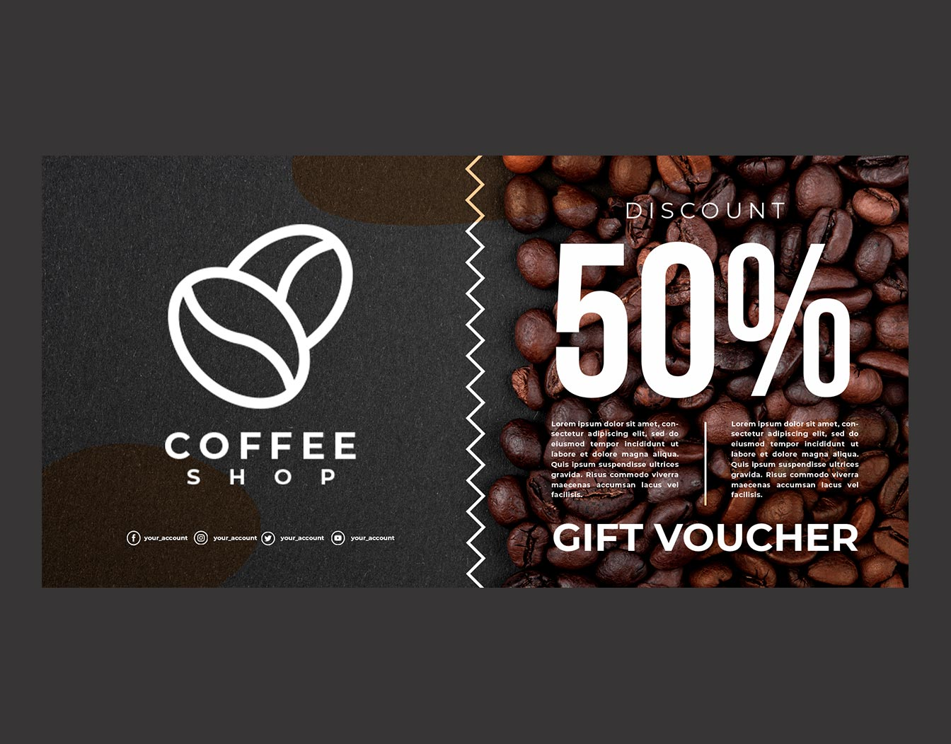 Dark coffee shop gift voucher on dark background