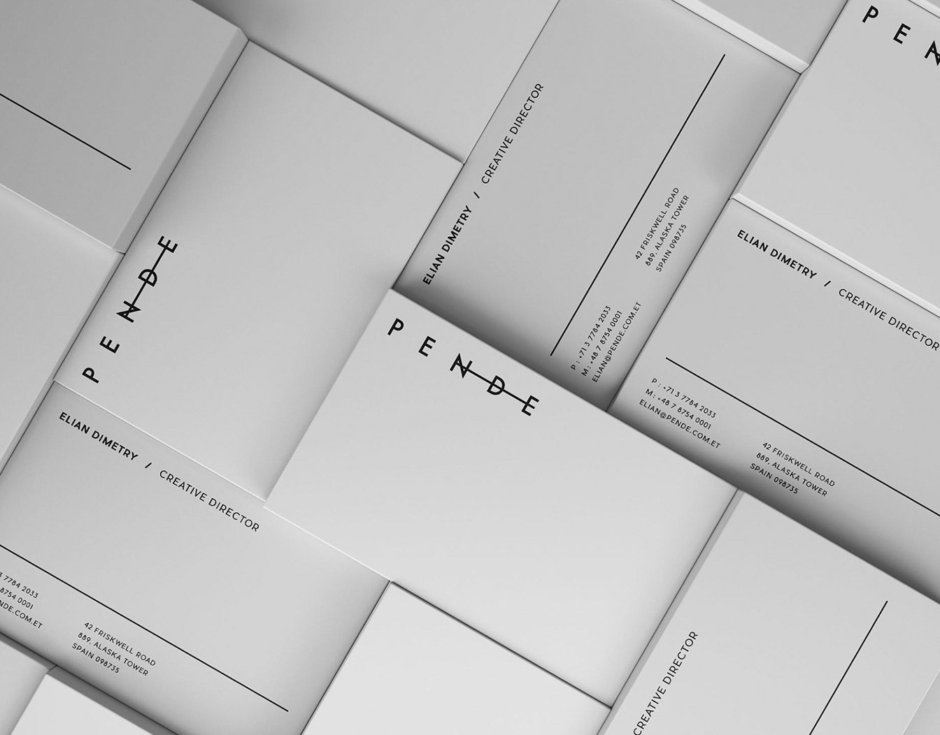 Black and white business cards puzzled together