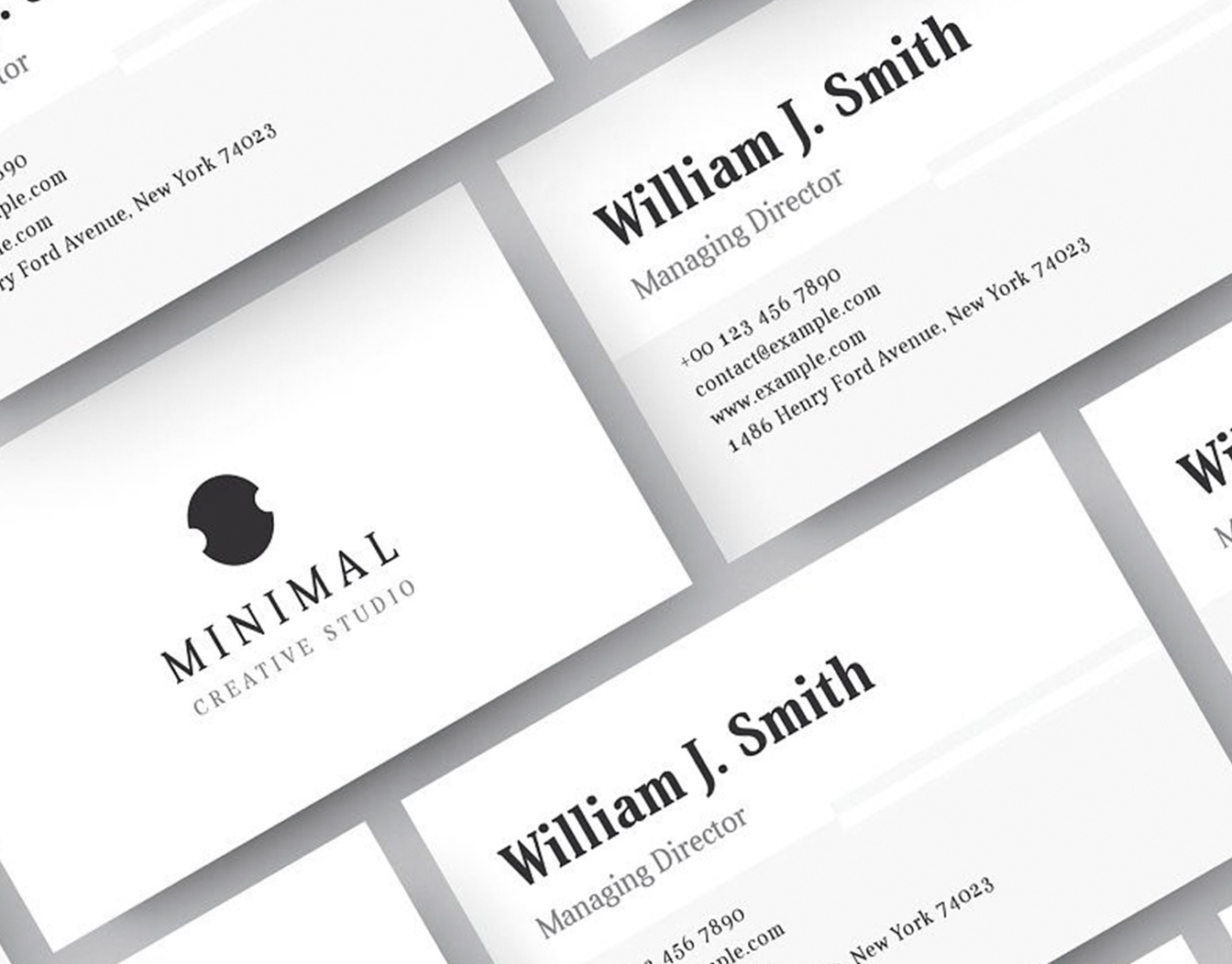 White and black business card laid in pattern