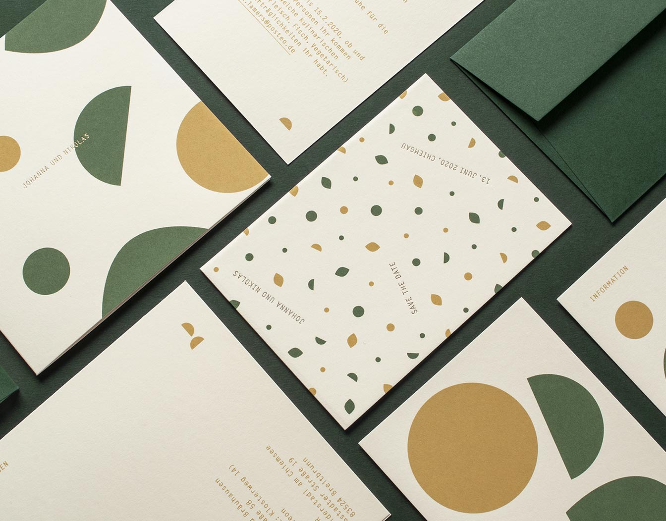 New year cards with geometric pattern in green and beige