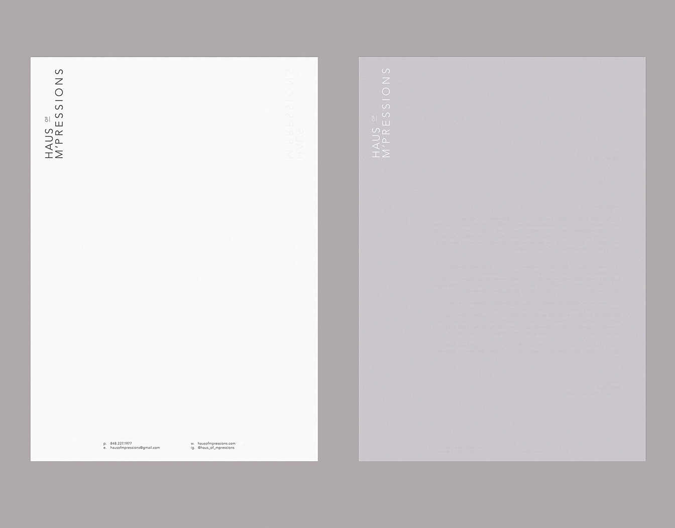 Two sheets of letterheads. White and grey.
