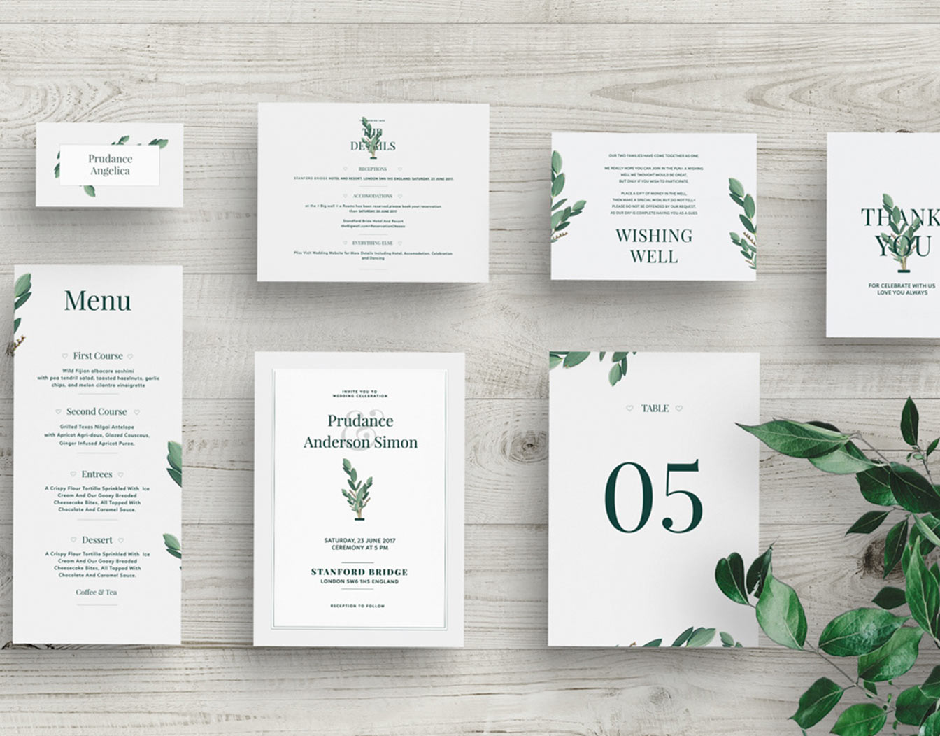 Wedding pack with green leaves